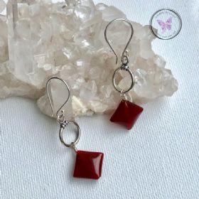 Carnelian Diamond Silver Hoop Earrings
